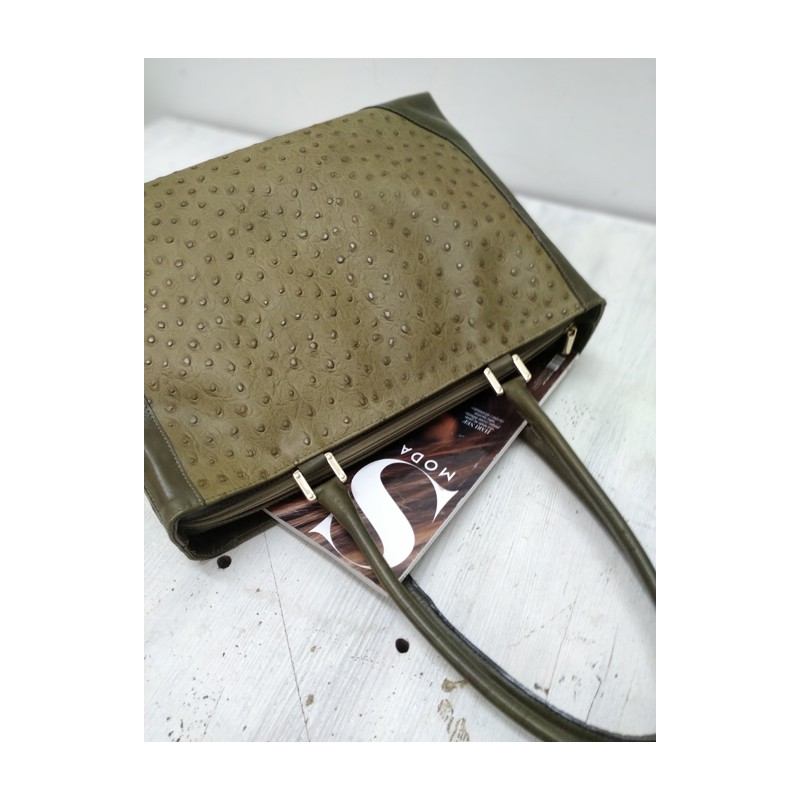 Ostrich print leather bag