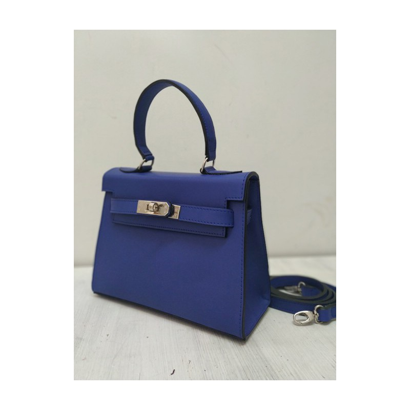 Blue mini kelly leather bag