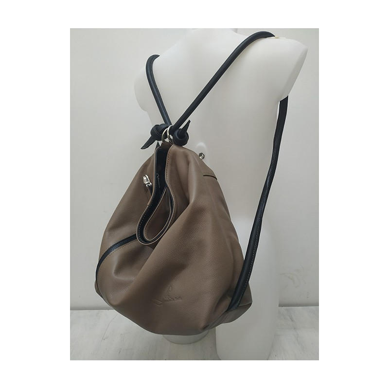 Taupe leather Backpack