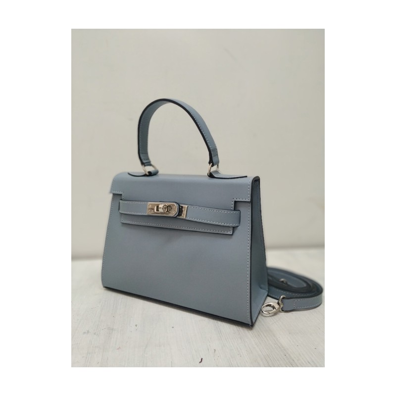 Gray mini kelly leather bag