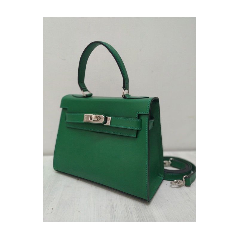 Green kelly leather bag