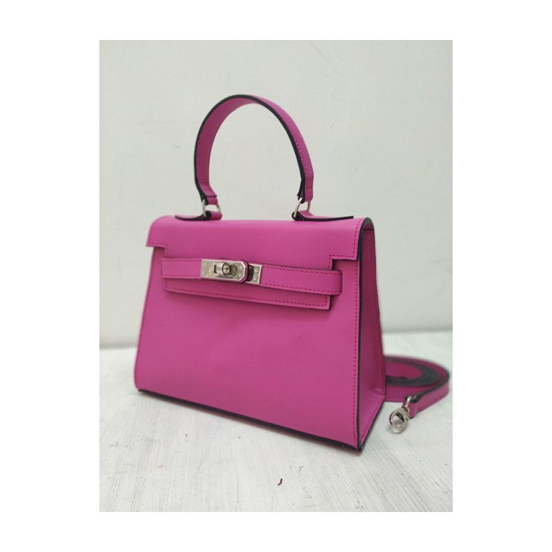 Fucsia kelly leather handbag