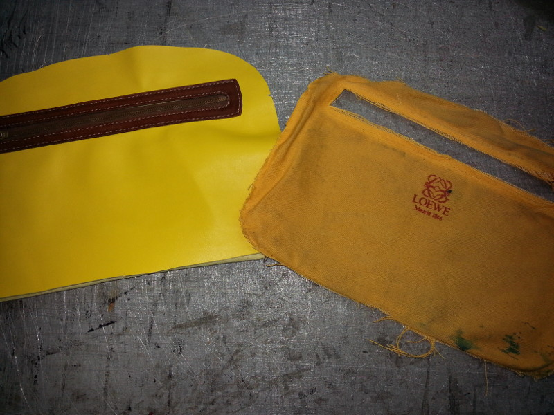 Ink stained leather bags